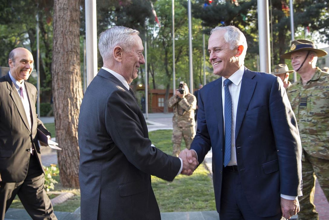 Defense Secretary Jim Mattis shakes hands with Australian Prime Minister Malcolm Turnbull at the Resolute Support Headquarters in Kabul, Afghanistan, April 24, 2017. DoD photo by Air Force Tech. Sgt. Brigitte N. Brantley