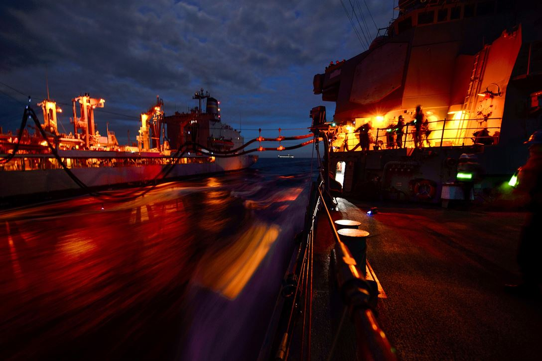 The USS Fitzgerald a conducts a night replenishment at sea with the USNS Pecos in the Sea of Japan, May 5, 2017. The Fitzgerald is on patrol supporting security and stability in the Indo-Asia-Pacific region. Navy photo by Petty Officer 2nd Class William McCann