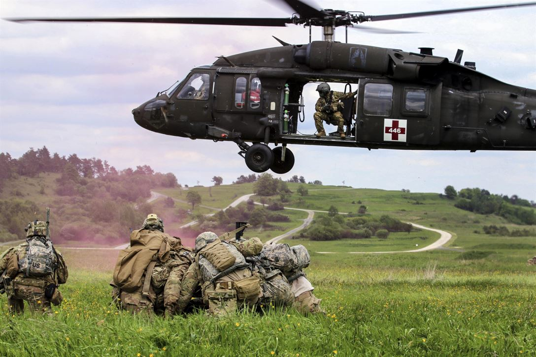 Soldiers conduct an air medical evacuation exercise during training in Grafenwoehr, Germany, May 22, 2017. Around 600 soldiers participated in the training, which tested the ability to deploy worldwide on short notice. Army photo by Staff Sgt. Kathleen V. Polanco
