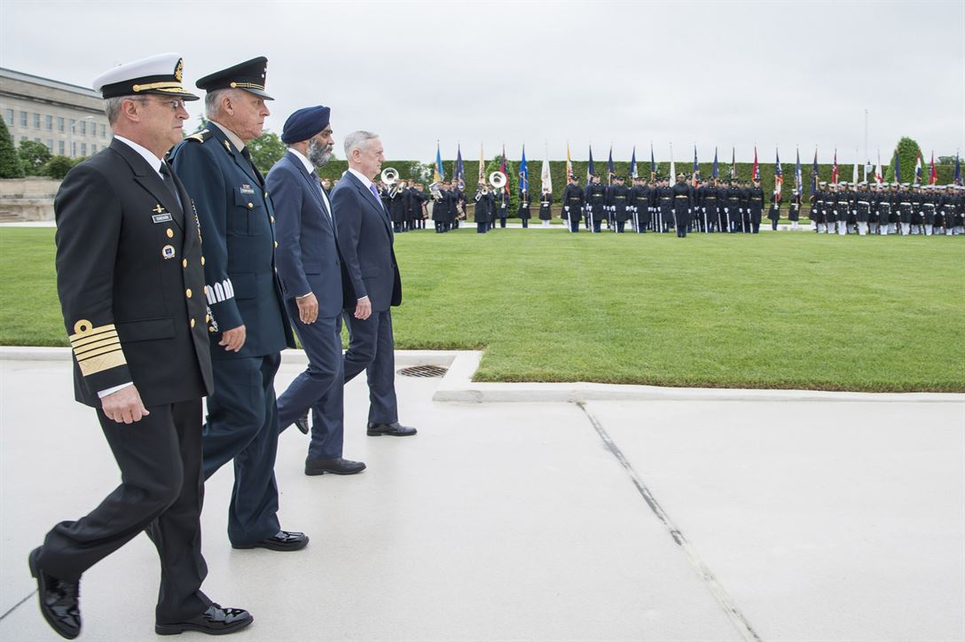 Defense Secretary Jim Mattis hosts a full honors parade prior to the North American Defense Ministerial at the Pentagon, May 22, 2017. From left to right are Mexican Navy Secretary Adm. Vidal Soberon, Mexican National Defense Secretary Gen. Cienfuegos Zepedas and Canadian Defense Minister Harjit Sajjan. DoD photo by Air Force Tech. Sgt. Brigitte N. Brantley