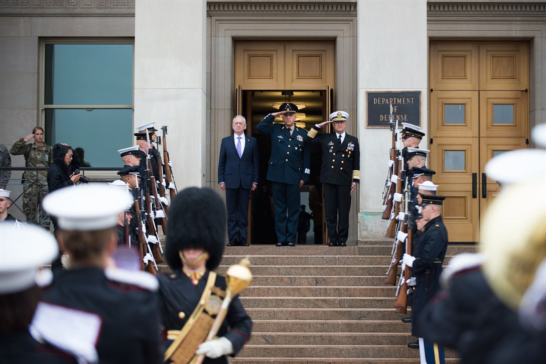 Defense Secretary Jim Mattis stands with Mexican National Defense Secretary Gen. Salvador Cienfuegos Zepeda, center, and Mexican Navy Secretary Adm. Vidal Francisco Soberon Sanz during an honor cordon at the Pentagon, May 22, 2017. DoD photo by Army Sgt. Amber I. Smith