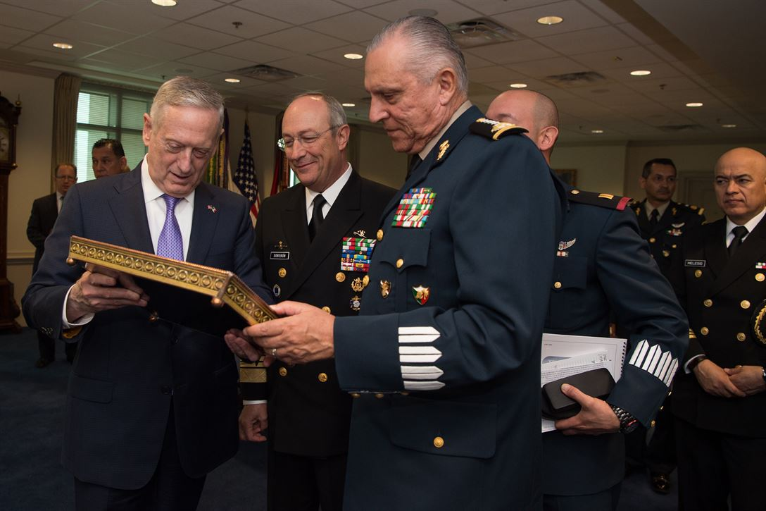 Defense Secretary Jim Mattis talks with Mexican National Defense Secretary Gen. Salvador Cienfuegos Zepeda, right, and Mexican Navy Secretary Adm. Vidal Francisco Soberon Sanz, center, at the Pentagon, May 22, 2017. DoD photo by Army Sgt. Amber I. Smith