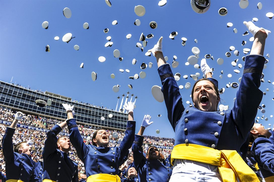Air Force second lieutenants celebrate during their graduation ceremony at the Air Force Academy in Colorado Springs, Colo., May 24, 2017. Marine Corps Gen. Joe Dunford, chairman of the Joint Chiefs of Staff, delivered the commencement address. Air Force photo by Tech. Sgt. Julius Delos Reyes