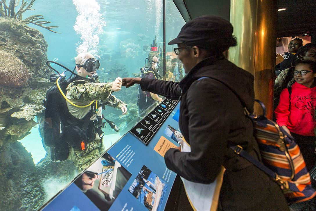 Navy Petty Officer 1st Class Sean Dargie fist bumps a visitor at the New York Aquarium during the 29th annual Fleet Week New York, May 24, 2017. The event provides an opportunity for residents of New York and the surrounding area to meet sailors, Marines and Coast Guardsmen. Dargie is assigned to assigned to Mobile Diving and Salvage Unit 2. Navy photo by Petty Officer 2nd Class Charles Oki