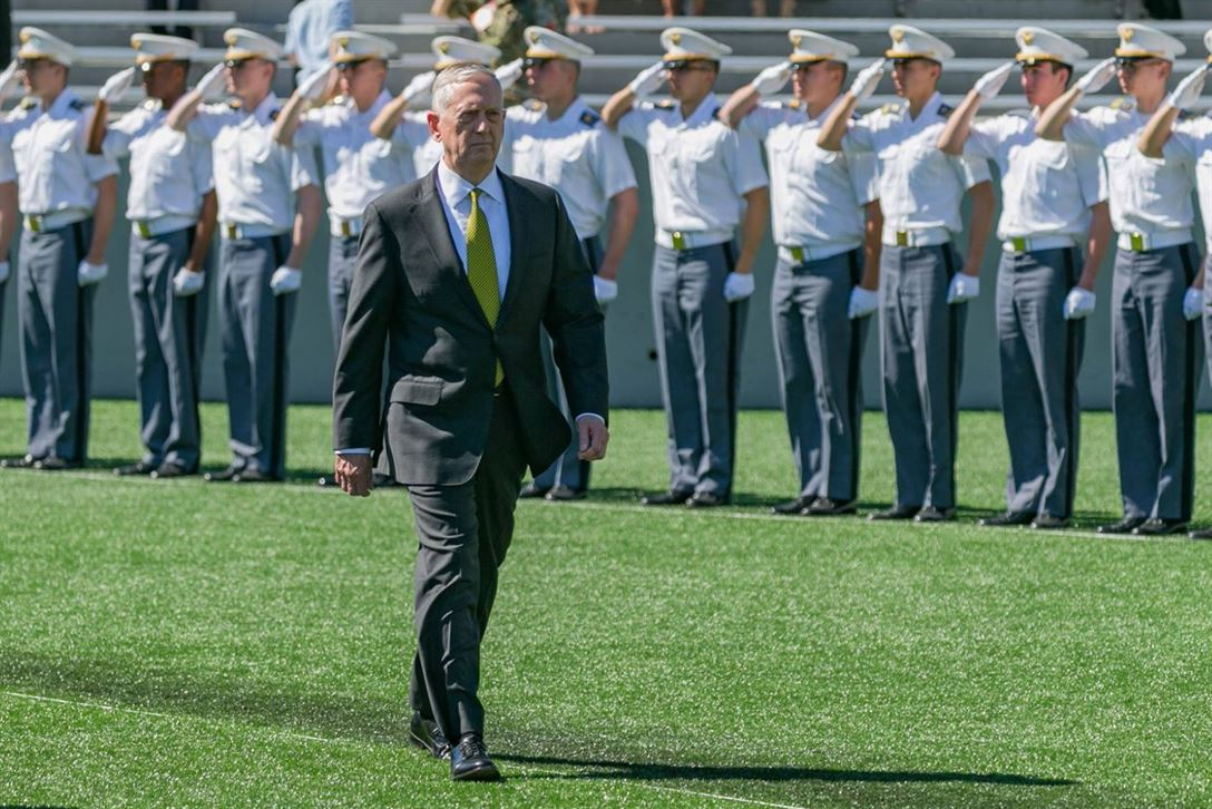 Defense Secretary Jim Mattis enters Michie Stadium before delivering the commencement address at the U.S. Military Academy in West Point, N.Y., May 27, 2017. U.S Army photo by Staff Sgt. Vito T. Bryant