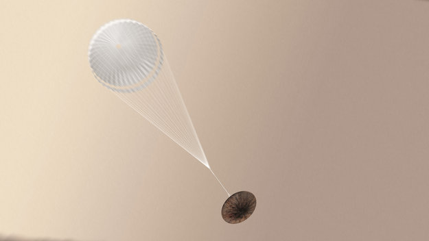 Schiaparelli with parachute deployed