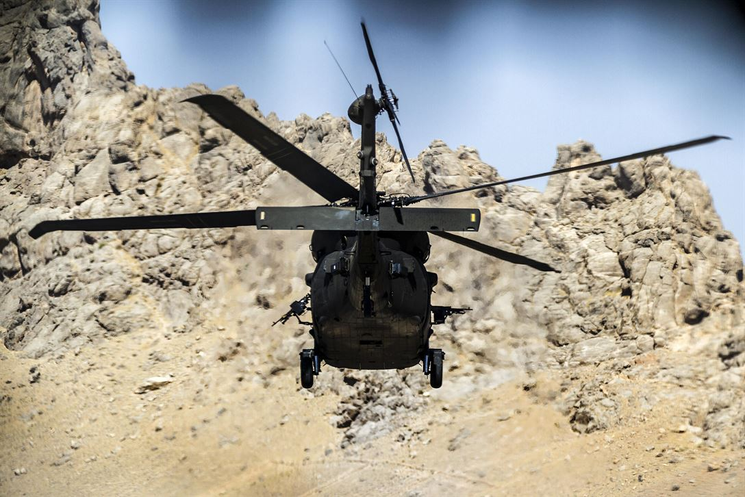 Army pilots fly a UH-60 Black Hawk helicopter on a mission from an undisclosed location near Kandahar Airfield, Afghanistan, May 27, 2017. Army photo by Capt. Brian Harris