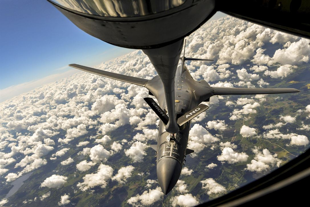 An Air Force B-1B Lancer receives fuel from an Air National Guard KC-135 Stratotanker over Riga, Latvia, during Saber Strike 17, an exercise that aims to promote regional stability and security while strengthening partner capabilities and fostering trust. Air Force photo by Senior Airman Tryphena Mayhugh
