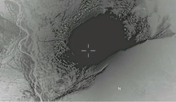 An image from aerial footage of a GBU-43/B bomb striking an ISIS-K cave and tunnel systems in the Achin district of the Nangarhar Province in eastern Afghanistan, April 13, 2017.