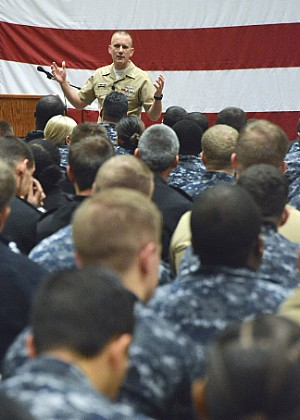 Master Chief Petty Officer of the Navy Steven S. Giordano speaks to Sailors onboard Naval Information Forces (NAVIFOR).