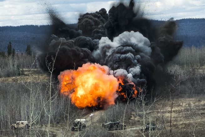 Soldiers detonate a mine clearing line charge during joint exercise Northern Edge at Fort Greely, Alaska, May 10, 2017. The soldiers are combat engineers assigned to the 25th Infantry Division's 6th Brigade Engineer Battalion, 4th Infantry Brigade Combat Team (Airborne). Army photo by Staff Sgt. Daniel Love