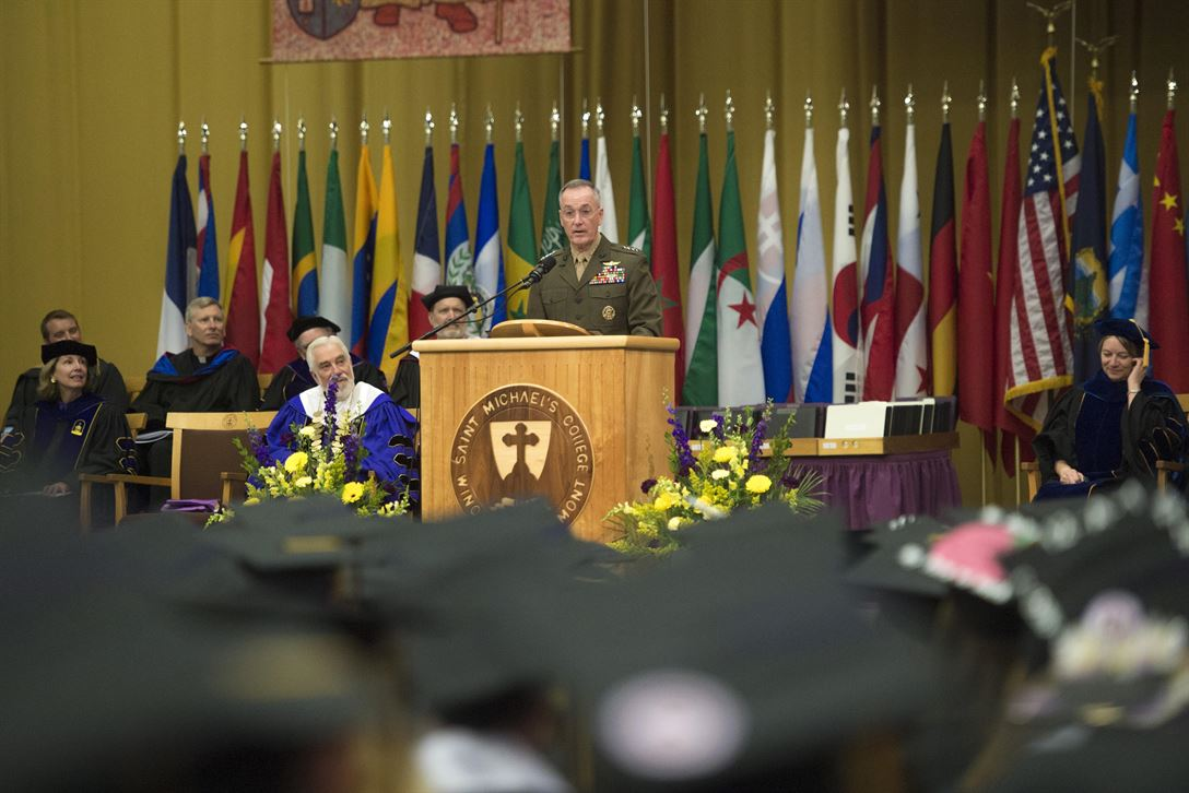 Marine Corps Gen. Joe Dunford, chairman of the Joint Chiefs of Staff, addresses graduates of Saint Michael's College class of 2017 during the school's 110th commencement in Colchester, Vt. May 14, 2017. Dunford graduated from Saint Michael's College in 1977 and has maintained close ties with the college over the years. DoD photo by Navy Petty Officer 2nd Class Dominique A. Pineiro