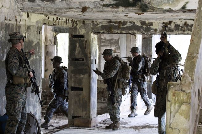 Marines assigned to Company India, 3rd Battalion, 8th Marines took part in Jeanne D' Arc 2017, a joint training exercise with French Special Forces, British Royal Marines and Japanese soldiers at Runway Able on the island of Tinian, May 16, 2017. Marine Corps photo by Gunnery Sgt Donald McClester