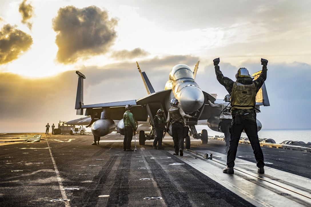 Sailors conduct flight operations aboard the aircraft carrier USS Carl Vinson in the western Pacific Ocean, May 16, 2017. The Navy has patrolled the Indo-Asia-Pacific routinely for more than 70 years, promoting regional peace and security. Navy photo by Petty Officer 2nd Class Rebecca Sunderland