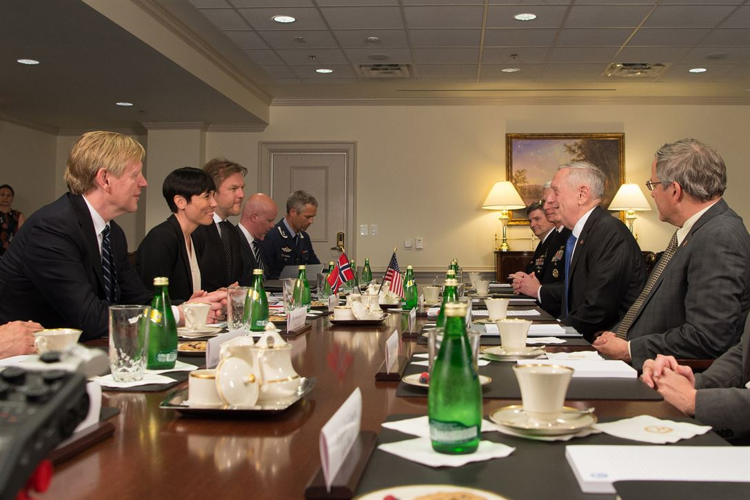 Defense Secretary Jim Mattis speaks with Norwegian Defense Minister  Ine Eriksen Søreide during a meeting at the Pentagon, May 17, 2017. DoD photo by Army Sgt. Amber I. Smith