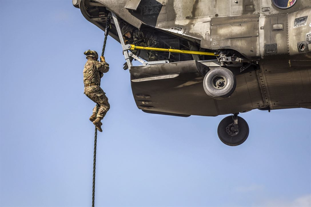 A U.S. soldier assigned to the 173rd Airborne Brigade conducts fast-rope training from a Greek helicopter as part of Exercise Bayonet Minotaur 2017 in Thessaloniki, Greece, May 22, 2017. The U.S.-Greek exercise focused on enhancing NATO operational standards. Army photo by Staff Sgt. Philip Steiner