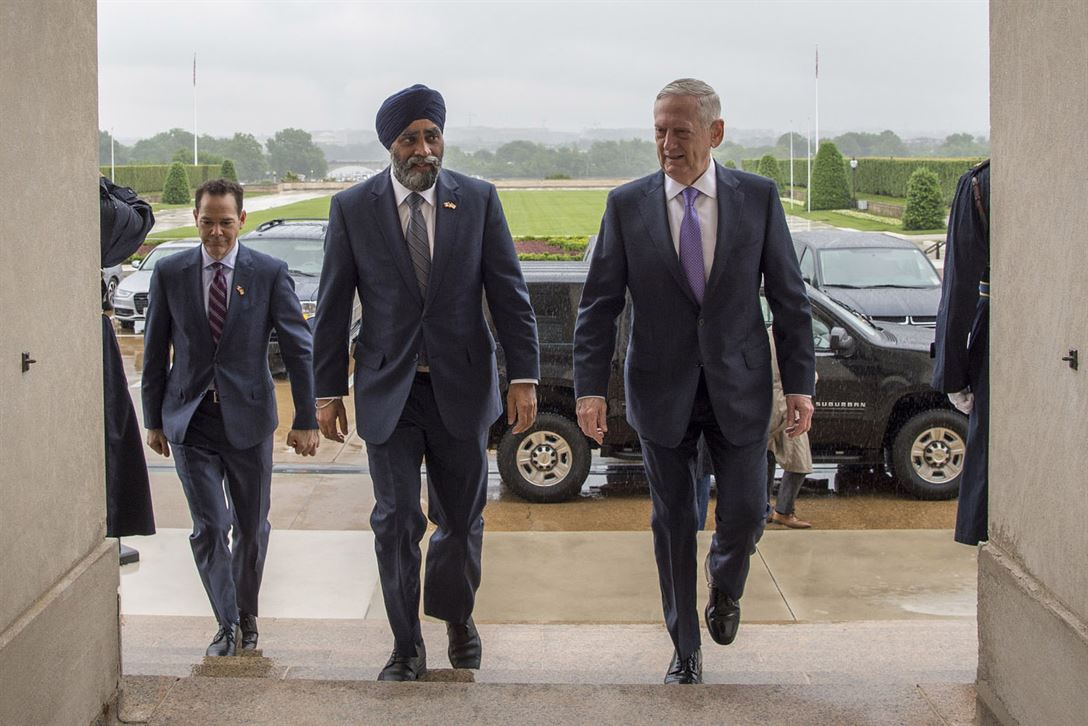 Defense SecretaryJim Mattis hosts Canada's Defense Minister Harjit Sajjan at the Pentagon, May 22, 2017. DoD photo by Air Force Tech. Sgt. Brigitte N. Brantley