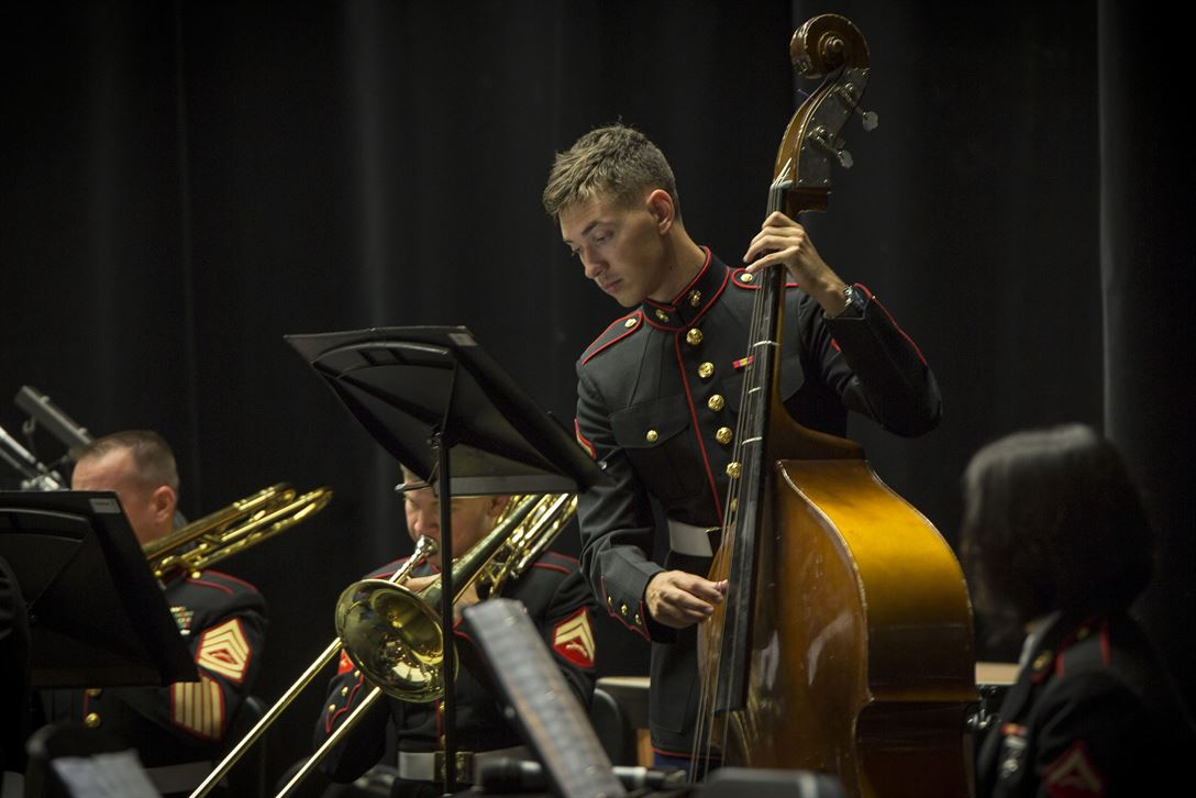 Marine Corps musicians perform for students at Stuttgart High School in Boeblingen, Germany, May 22, 2017. The band's tour celebrated the relationship between the Marine Corps and Germany, highlighting the Marine Corps' first concert band performances in the country. Marine Corps photo by Cpl. Dana Beesley