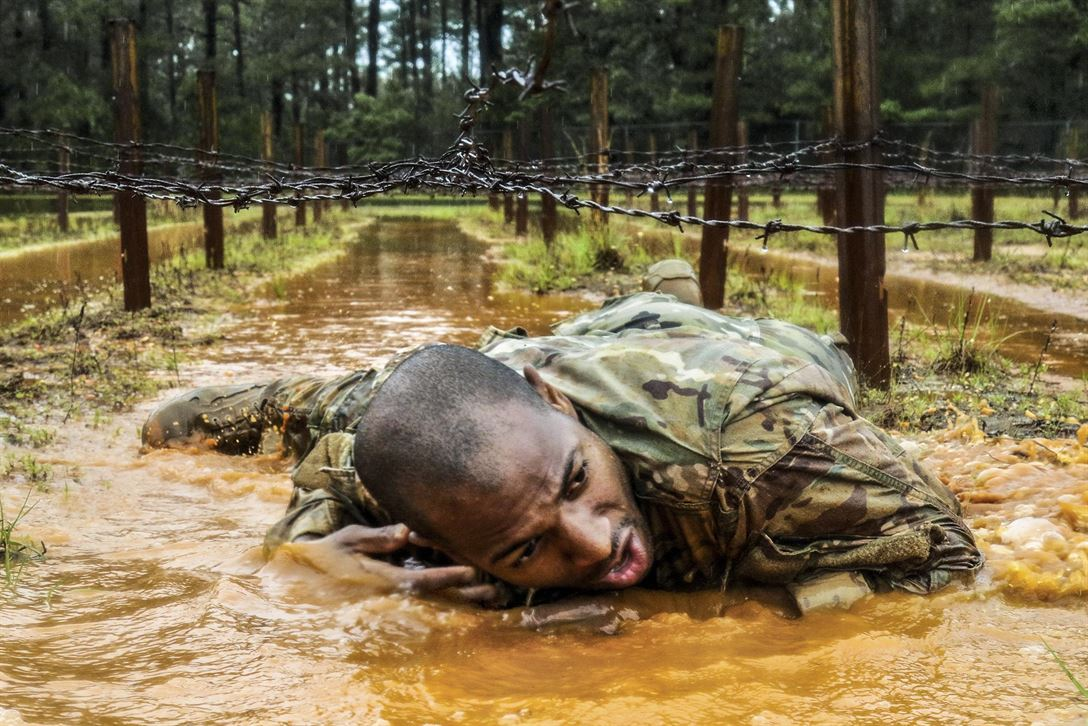 A paratrooper participates in the Best Squad Competition as part of All American Week at Fort Bragg, N.C., May 23, 2017. The week celebrates the 82nd Airborne Division with events for the division's soldiers and veterans. Army photo by Sgt. Jesse Leger