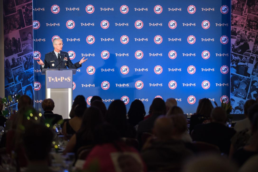 Gen. Paul J. Selva, vice chairman of the Joint Chiefs of Staff, discusses the impact of the Tragedy Assistance Program for Survivors, or TAPS, during the Grand Banquet at the 23rd TAPS National Military Survivor Seminar and Good Grief Camp in Arlington, Va., May 27, 2017. TAPS brings surviving family members together over the Memorial Day weekend for seminars, workshops, and activities that support and honor their sacrifice. DoD photo by Army Sgt. James K. McCann