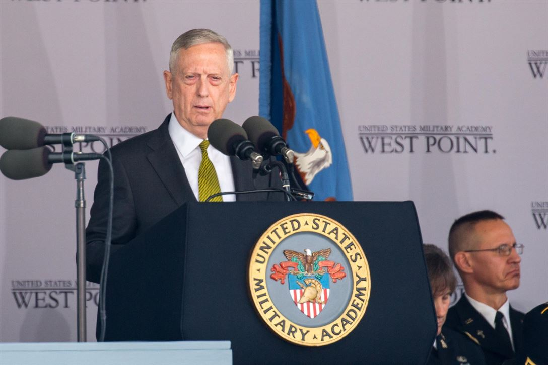 Defense Secretary Jim Mattis delivers the commencement address at the U.S. Military Academy at West Point, N.Y., May 27, 2017.  Army photo by Staff Sgt. Vito T. Bryant