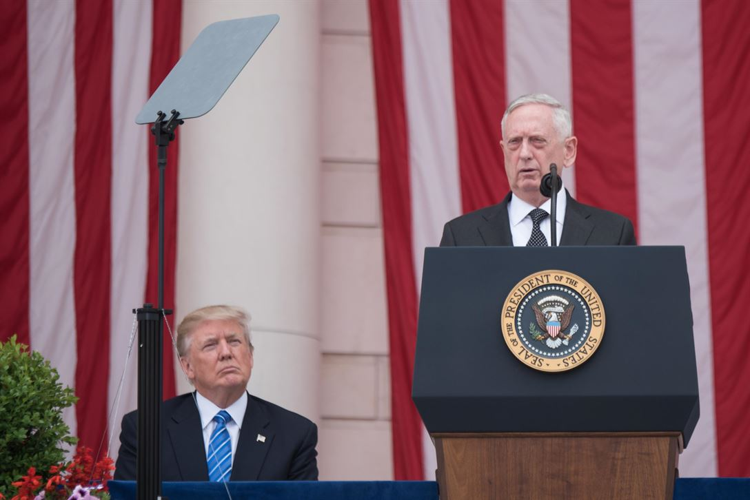 Defense Secretary Jim Mattis delivers remarks during Memorial Day ceremonies at Arlington National Cemetery in Arlington, Va., May 29, 2017. President Donald J. Trump and leaders from around the Defense Department gathered to honor America's fallen service members. DoD photo by Army Sgt. James K. McCann