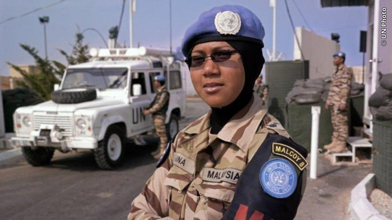 Norfazidatul Aina, Military Police with the Malaysian Contingent, is in charge of the security of UN Post 7-4, near the town of Kawkaba, Lebanon.
