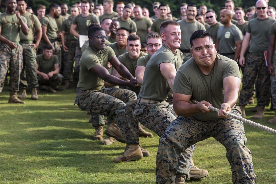 Marines participate in a tug of war competition as part of an athletic competition at Marine Corps Air Station Cherry Point, N.C., June 2, 2017. The Marines, who won the tug of war event, are assigned to Marine Air Support Squadron 1. Marine Corps photo by Lance Cpl. Cody Lemons