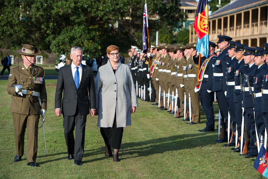 Defense Secretary Jim Mattis, center, and Australian Defense Minister Marise Ann Payne review the troops during a visit to Victoria Barracks in Sydney, June 5, 2017. DoD photo by Air Force Staff Sgt. Jette Carr