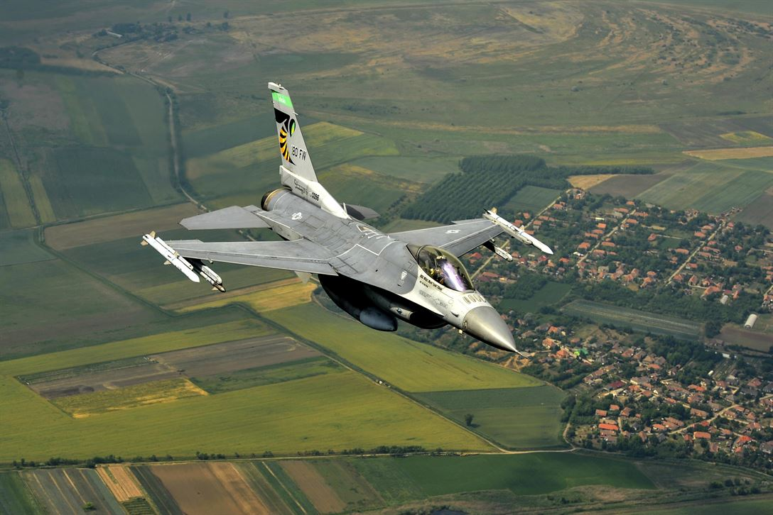 Air Force Lt. Col. Brian Moran flies an F-16 Fighting Falcon over Hungary during exercise Load Diffuser 17, June 6, 2017. More than 400 service members participated in the exercise, a Hungarian Air Force-led multinational flying event between NATO allies and partner nations. Air National Guard photo by Senior Master Sgt. Beth Holliker
