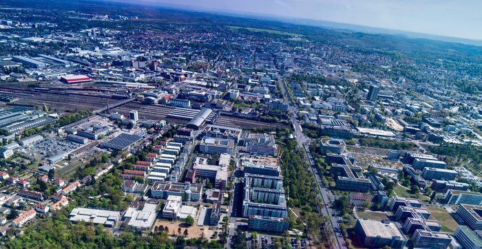 In a beautiful aerial view captured on 17 April 2017, ESA's mission control can be seen at lower left, sitting on the western edge of the city of Darmstadt, Germany.